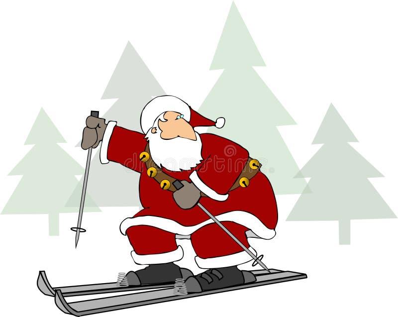 mikołaj na nartach ilustracji