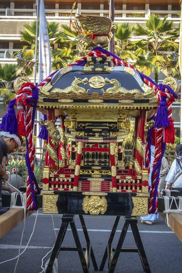 Mikoshi från Japan i den Asien Afrika festivalen 2019 royaltyfria bilder