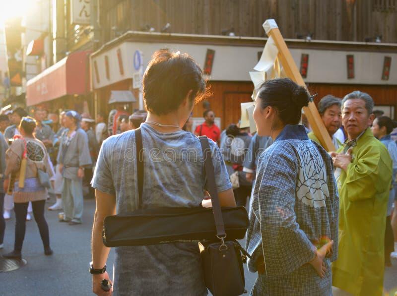 Mikoshi Matsuri festival i Tokyo, Japan arkivfoto