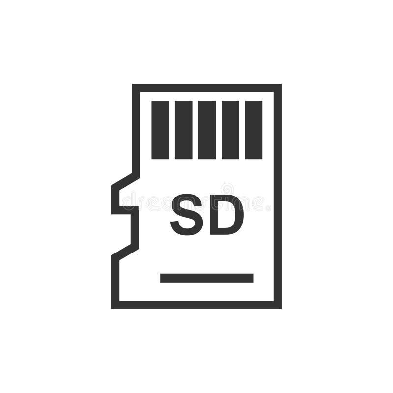 Mikro SD karty ikona w mieszkanie stylu Kości pamięci wektorowa ilustracja na białym odosobnionym tle Składowy adaptatoru biznesu ilustracja wektor