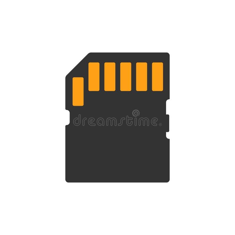 Mikro SD karty ikona w mieszkanie stylu Kości pamięci wektorowa ilustracja na białym odosobnionym tle Składowy adaptatoru biznesu royalty ilustracja