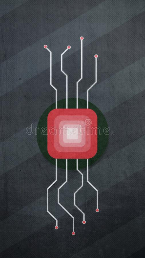 Mikro układu scalonego Abstrakcjonistyczny wizerunek procesor na szarym tle ilustracja wektor