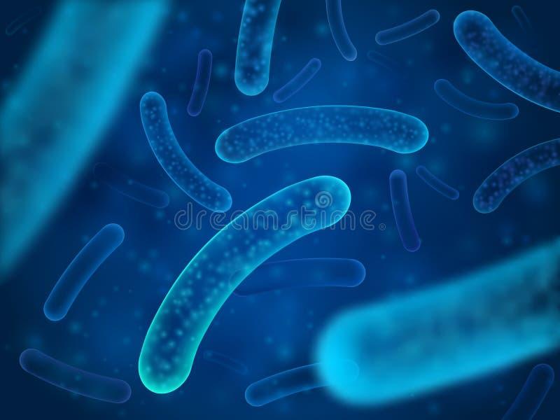 Mikrobakterie und therapeutische Bakterienorganismen Mikroskopische Salmonellen, Milchsäurebazillus oder mit Bakterien durchsetzt vektor abbildung