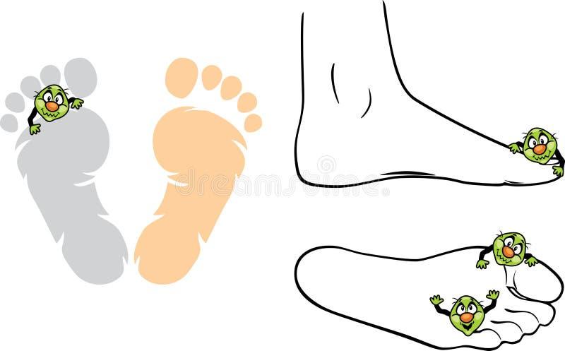 Mikroben auf den Füßen lizenzfreie abbildung
