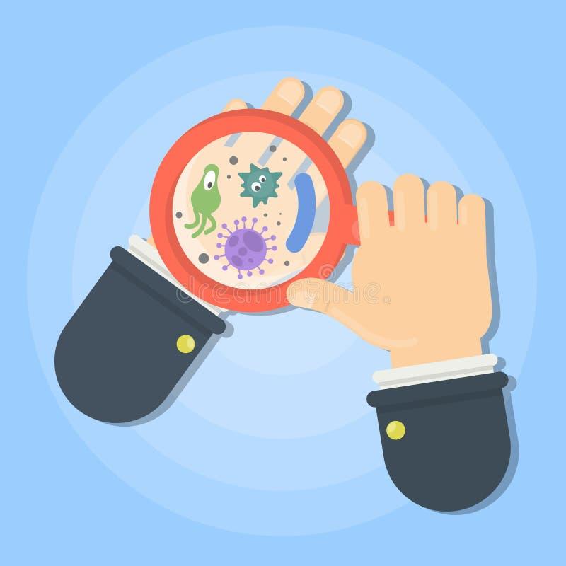 Mikroben an Hand vektor abbildung