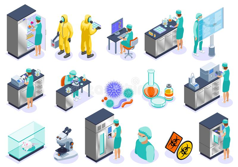 Mikrobiologie-isometrischer Ikonen-Satz lizenzfreie abbildung