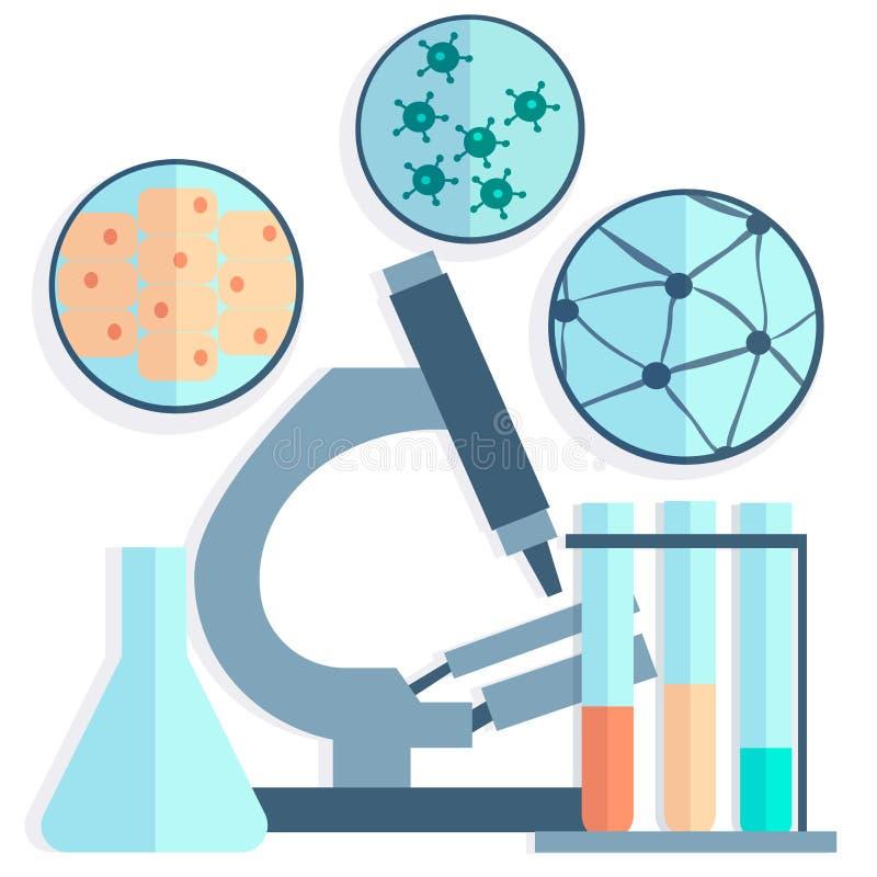 Mikrobiologie, Petrischalen, Reagenzgläser lizenzfreie abbildung