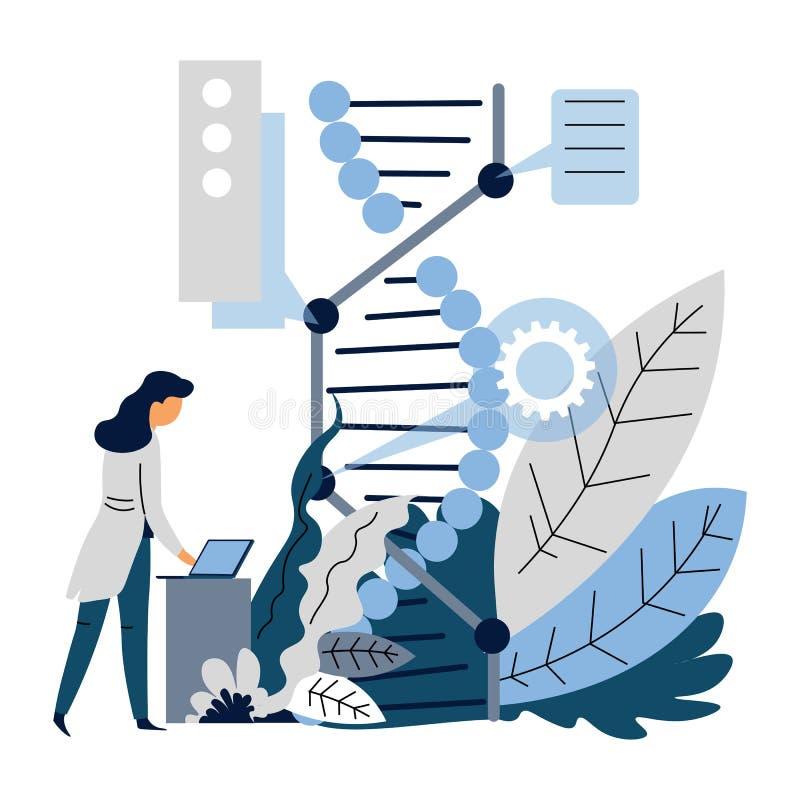 Mikrobiologii lub genetyki sztuczna inteligencja DNA laptop i naukowiec i royalty ilustracja