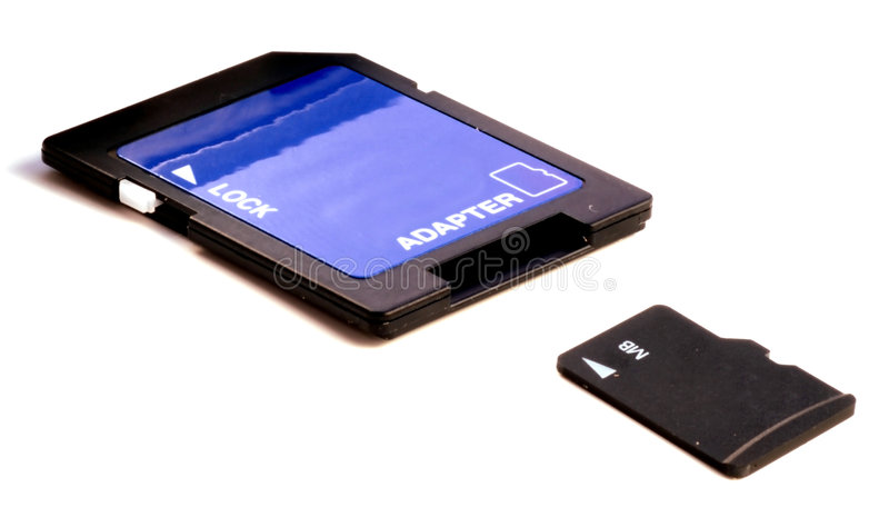 Mikroc$sd-karte mit Adapter stockfotografie