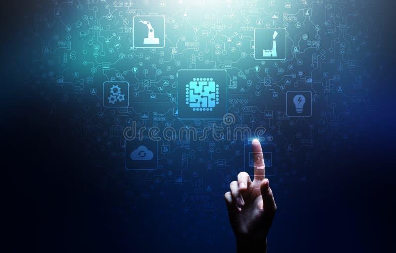 Mikrochips, konstgjord intelligens, automation och internet av saker IOT, Digital integration vektor illustrationer