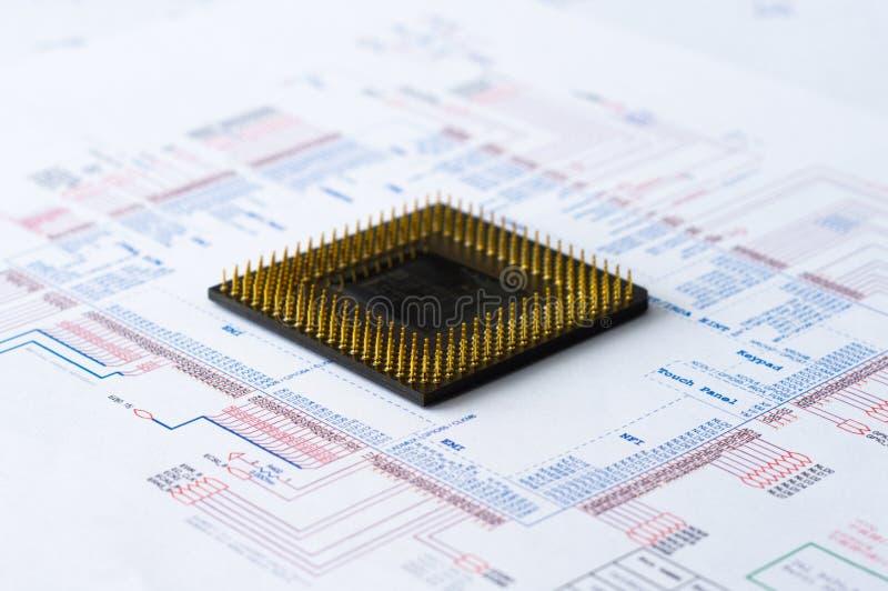 Mikroelektronik-Element und Plan stockbilder