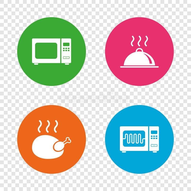 Mikrofala piekarnika ikona Kulinarna karmowa porcja royalty ilustracja