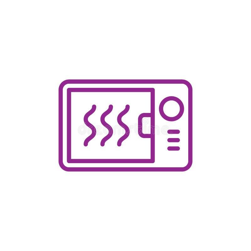 Mikrofala piekarnika linii ikona, konturu wektoru znak, liniowy stylowy piktogram odizolowywający na bielu royalty ilustracja