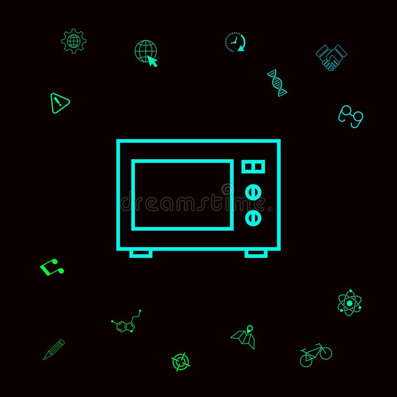 Mikrofala piekarnika liniowa ikona Graficzni elementy dla twój designt royalty ilustracja