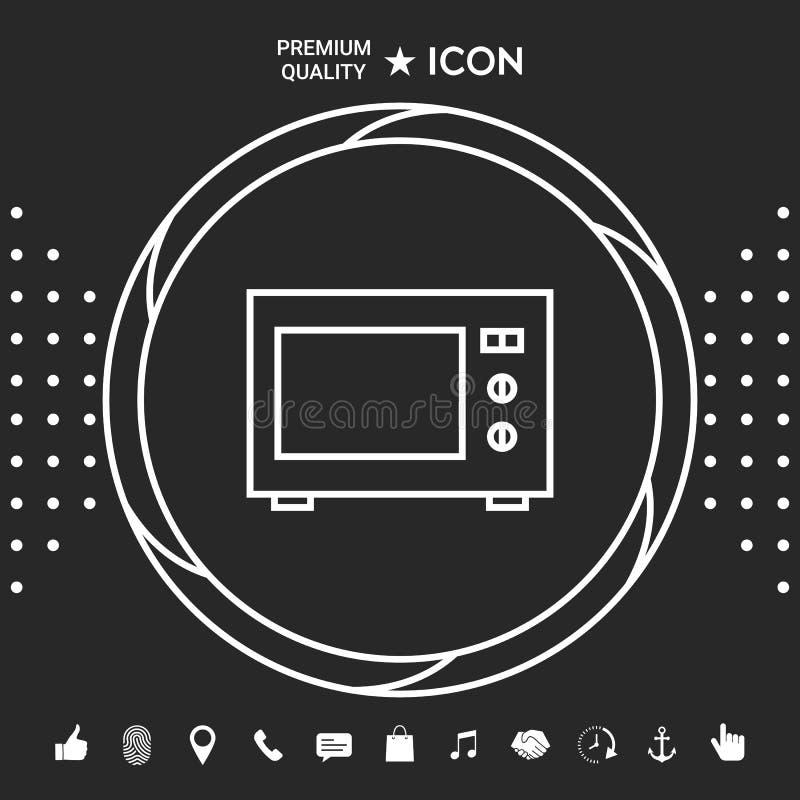 Mikrofala piekarnika liniowa ikona Graficzni elementy dla twój designt ilustracji