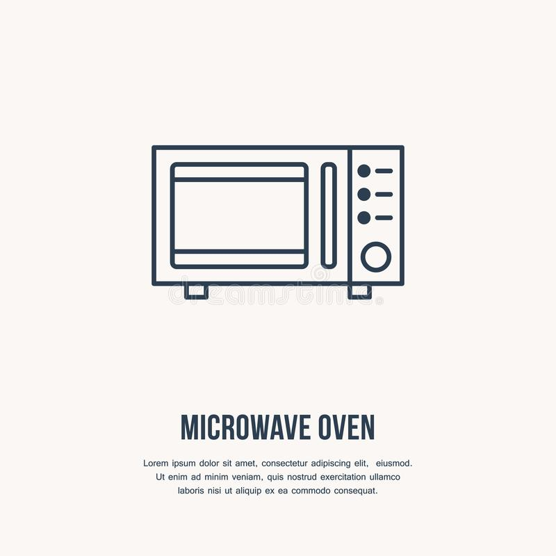 Mikrofala piekarnika mieszkania linii wektorowa ikona Kulinarnego wyposażenia liniowy znak Konturu symbol dla gospodarstw domowyc ilustracji