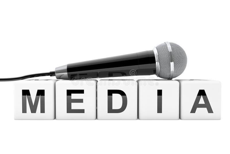 Mikrofon över massmediakubtecken framförande 3d vektor illustrationer