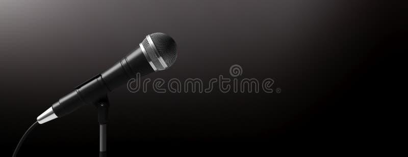 Mikrofon auf dem Stand lokalisiert auf schwarzem Hintergrund, Fahne, Kopienraum Abbildung 3D lizenzfreie abbildung