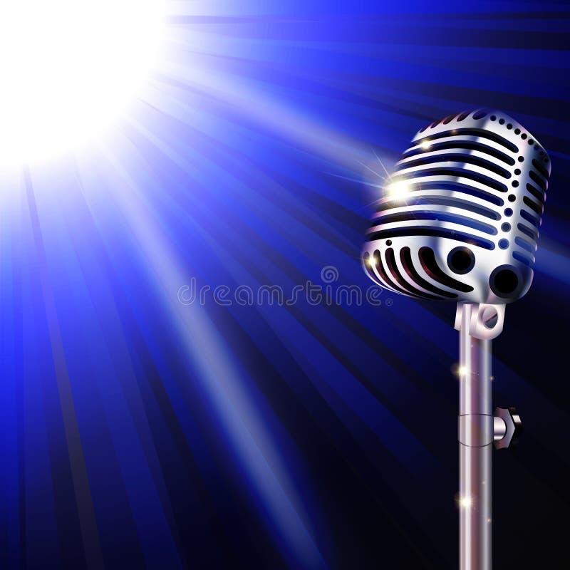 Mikrofon auf einem Hintergrund des Aufflackerns vektor abbildung