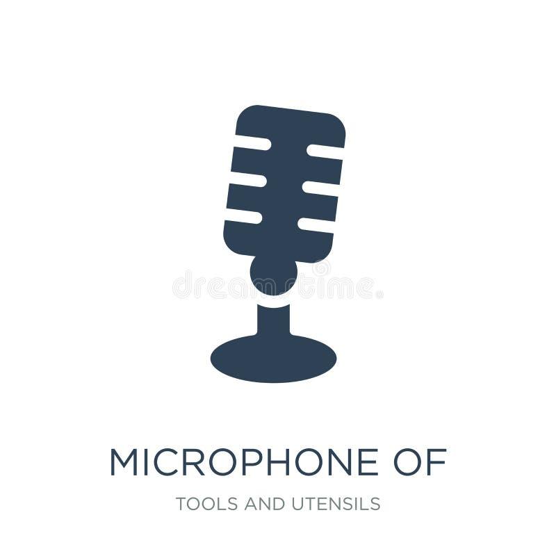 mikrofon av tappning de symbol i moderiktig designstil mikrofon av tappning de symbol som isoleras på vit bakgrund mikrofon av vektor illustrationer