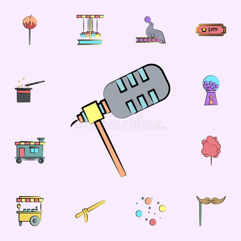 mikrofon barwiona ikona cyrkowy ikony ogólnoludzki ustawiający dla sieci i wiszącej ozdoby ilustracja wektor
