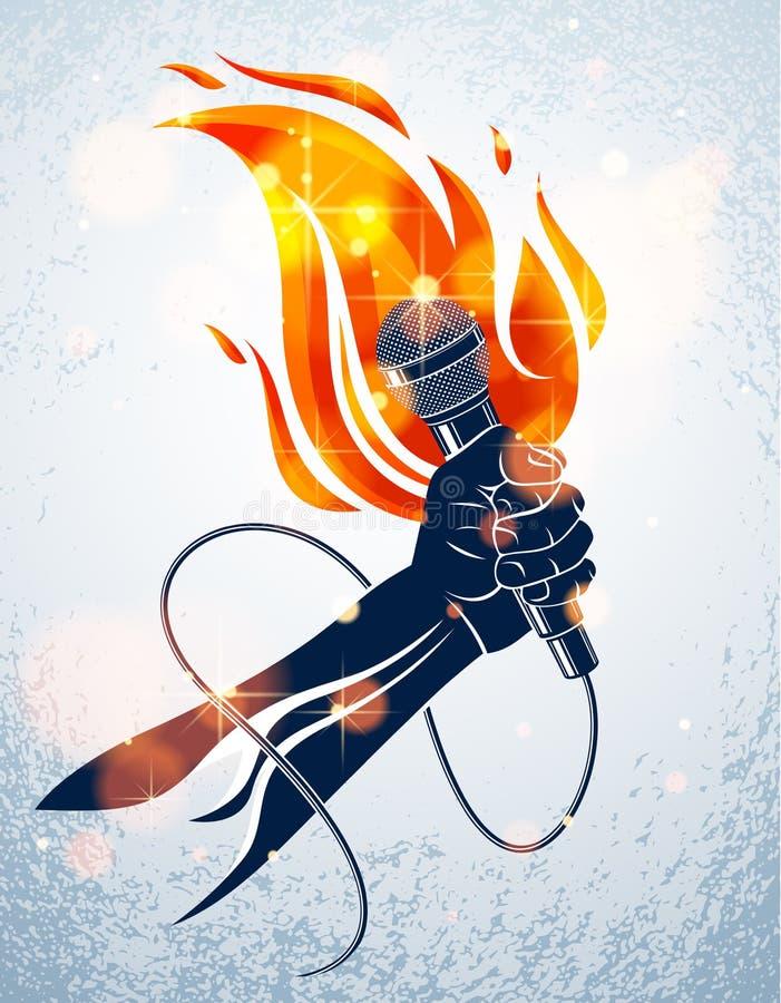 Mikrofon in der Hand auf Feuer, heißes Mikrofon in Flammen Live-Show, Rap-Schlacht Rhythmen Musik, Konzertfestival oder Nachtklub vektor abbildung