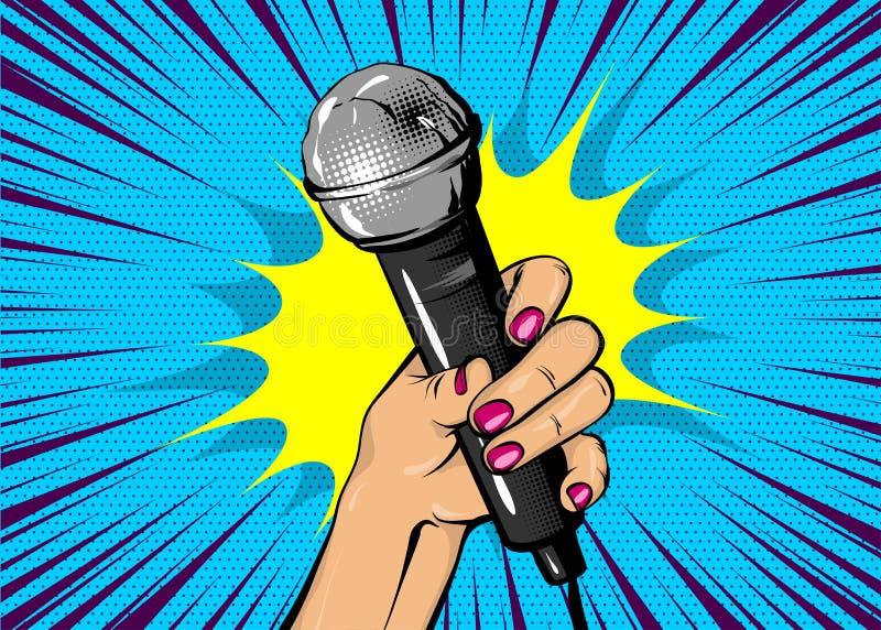 Mikrofon för håll för hand för kvinnapopkonst royaltyfri illustrationer