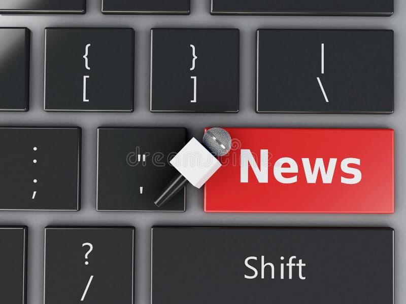 mikrofon för nyheterna 3d och datortangentbord vektor illustrationer