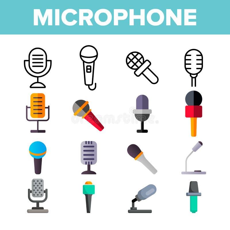Mikrofon, g?osu koloru Magnetofonowe Wektorowe ikony Ustawia? ilustracji