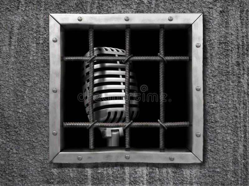 Mikrofon hinter Zaun vektor abbildung