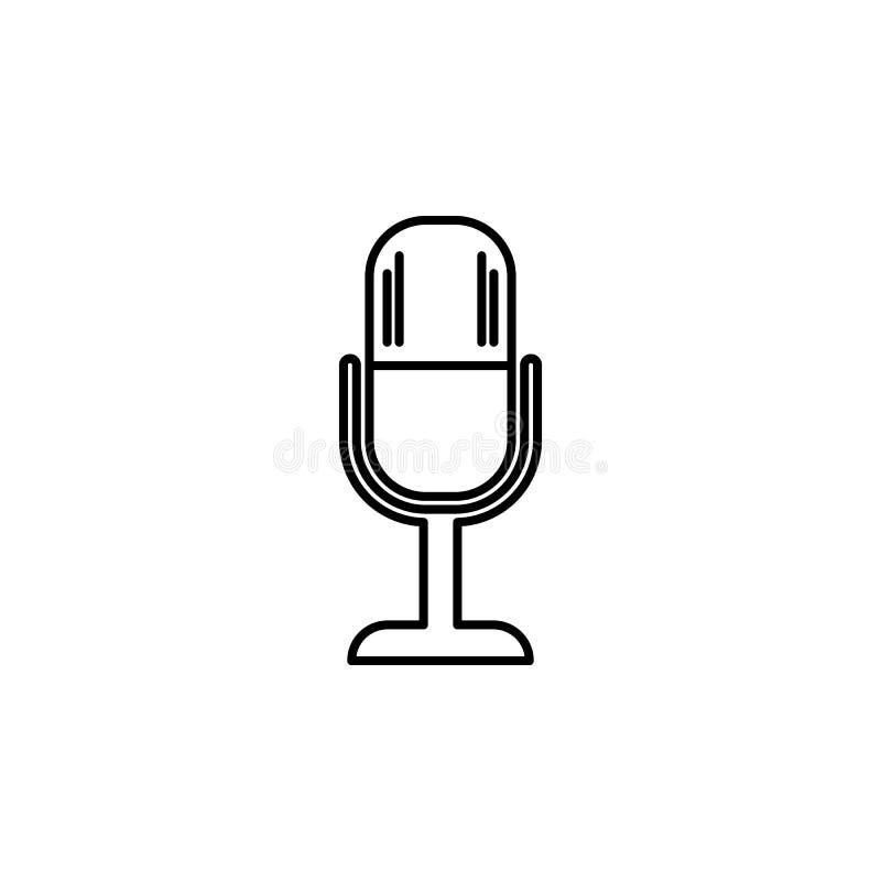 Mikrofon ikona Element prosta ikona dla stron internetowych, sieć projekt, wisząca ozdoba app, ewidencyjne grafika Cienka kreskow ilustracji