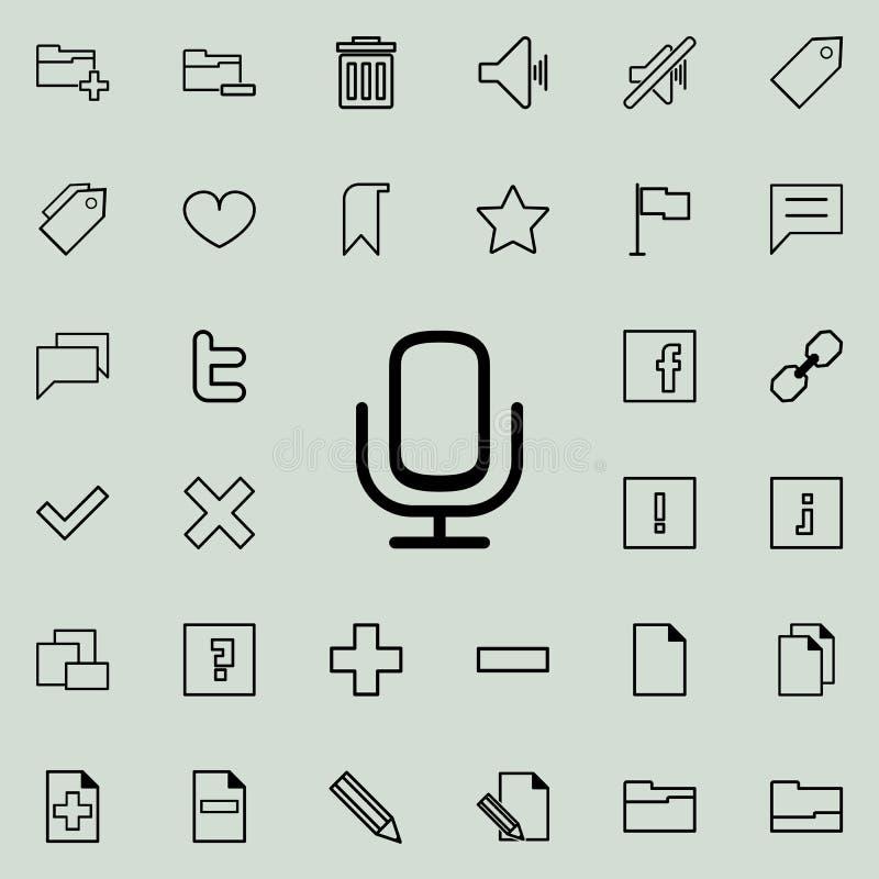 Mikrofon ikona Szczegółowy set minimalistic ikony Premia graficzny projekt Jeden inkasowe ikony dla stron internetowych, sieć pro ilustracji