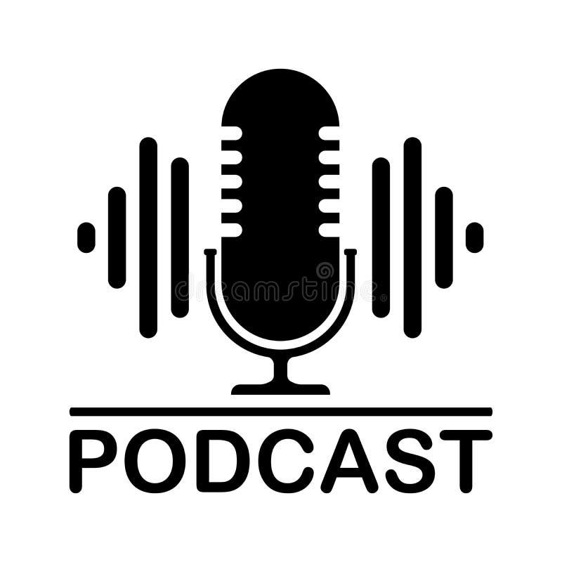 Mikrofon ikona w modnym mieszkanie stylu odizolowywa przeciw t?u Logo, zastosowanie, interfejs u?ytkownika Podcast ilustracji