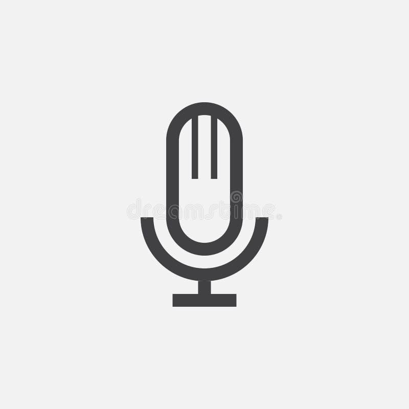 Mikrofon ikona, wektorowy logo, liniowy piktogram odizolowywający na bielu, piksel perfect ilustracja ilustracja wektor