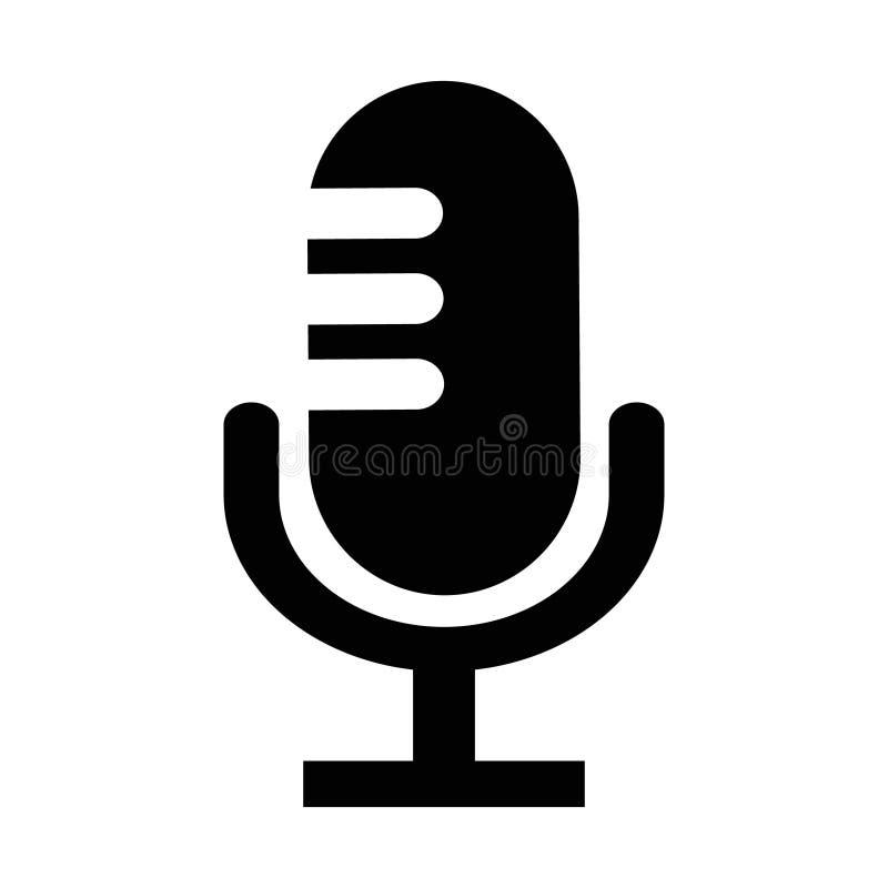 Mikrofon ikona Wektorowy pisaka symbol Mikrofonu kszta?t Element dla projekt rewizji app gadki strony internetowej lub gona ilustracja wektor