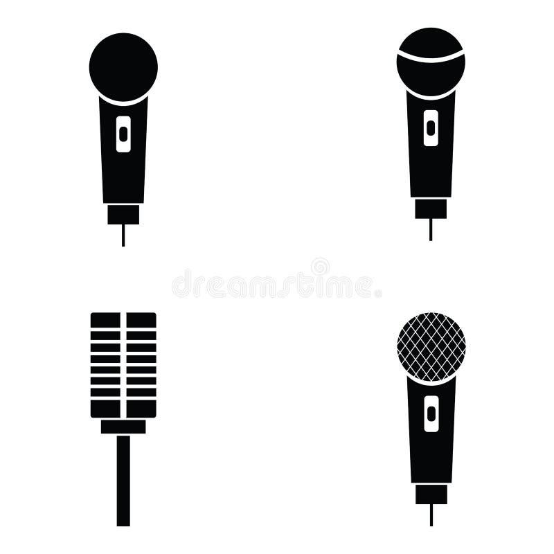 Mikrofon ikony ustawiać royalty ilustracja