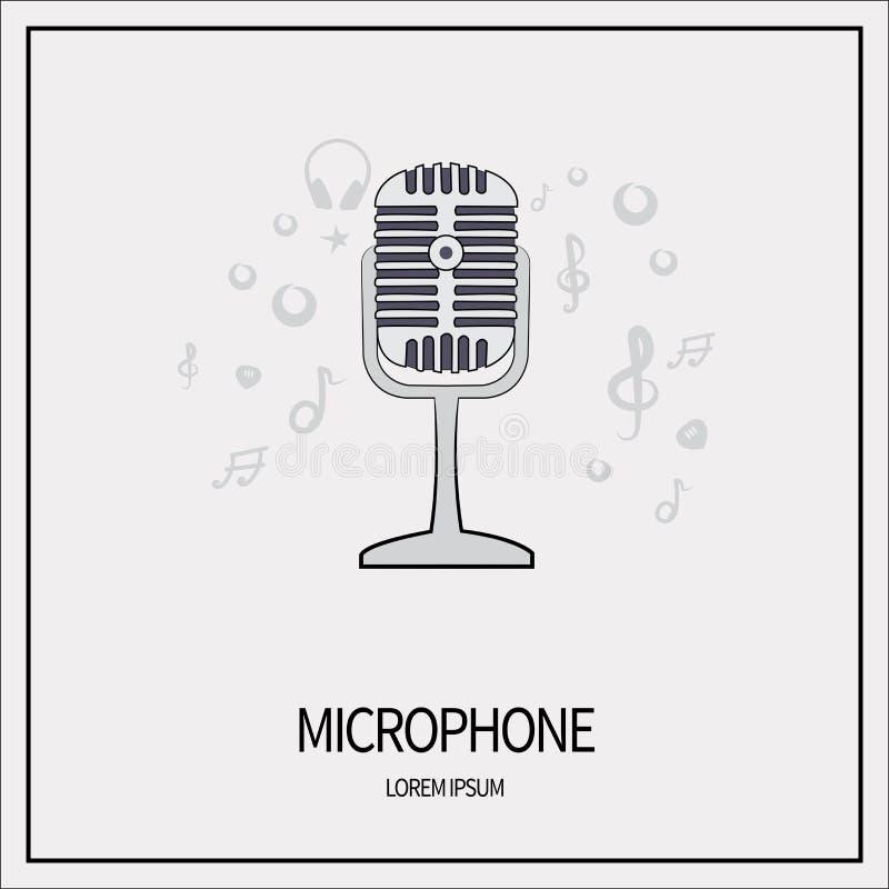 Mikrofon isolerad symbol stock illustrationer