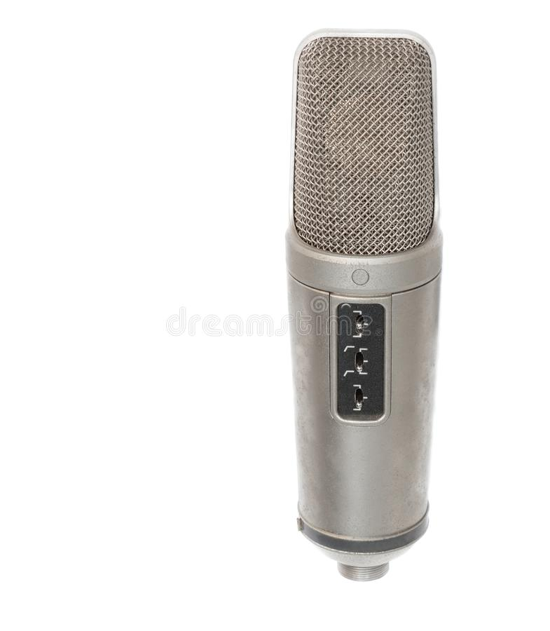 Mikrofon, Kondensator mic auf weißem Hintergrund stockfotografie