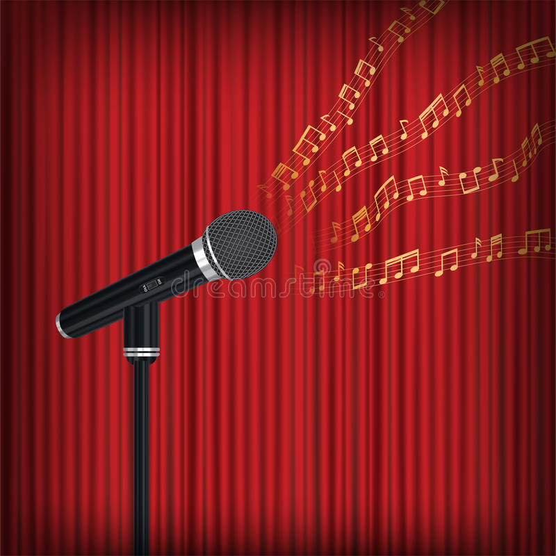 Mikrofon med att sväva musikanmärkningen på etapp stock illustrationer
