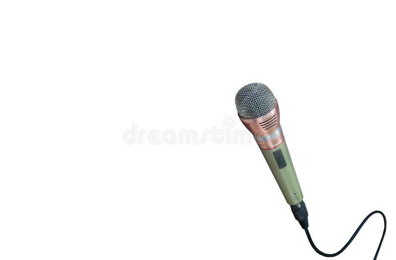 Mikrofon med tråd på vit bakgrund bild för bakgrund, royaltyfri fotografi