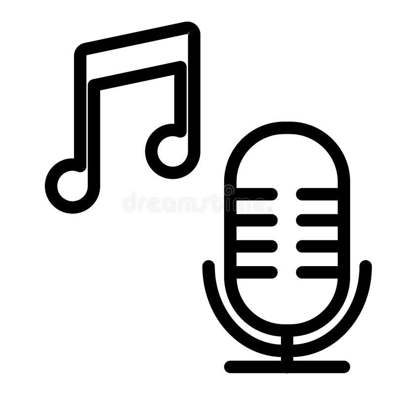 Mikrofon mit Musikanmerkungslinie Ikone Liedvektorillustration lokalisiert auf Weiß Musikentwurfs-Artentwurf, entworfen vektor abbildung
