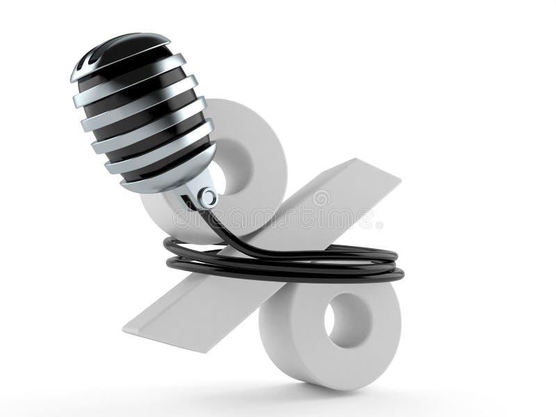 Mikrofon mit Prozentsymbol stock abbildung