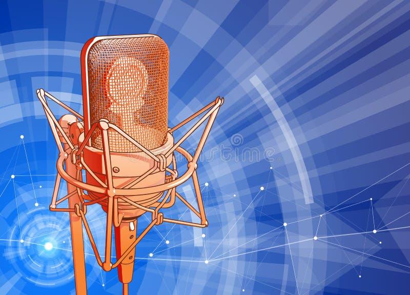Mikrofon na błękitnym technologicznym tle royalty ilustracja