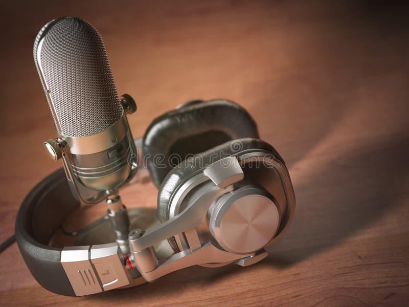 Mikrofon och hörlurar på trätabellen Retro tappningvagel vektor illustrationer