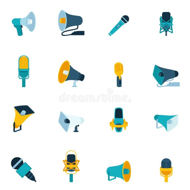 Mikrofon- och megafonsymboler sänker stock illustrationer