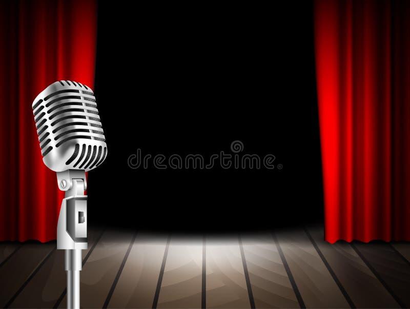 Mikrofon och röd gardin royaltyfri illustrationer
