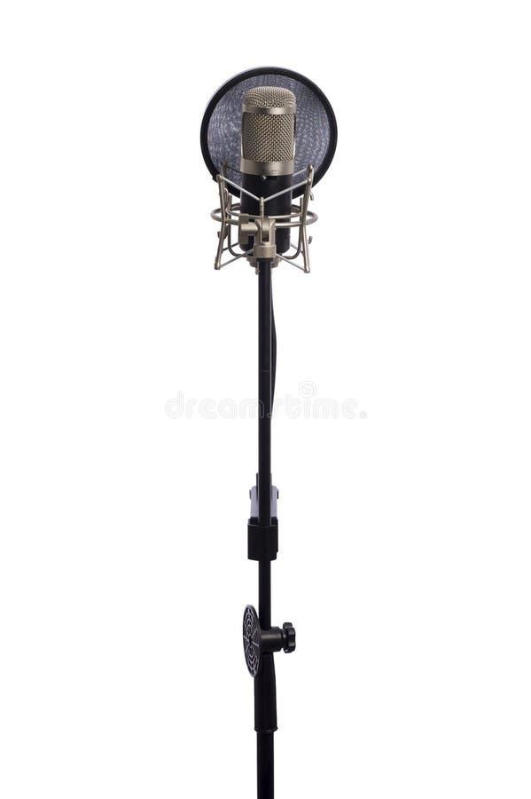 Mikrofon odizolowywający na biały tle obraz stock