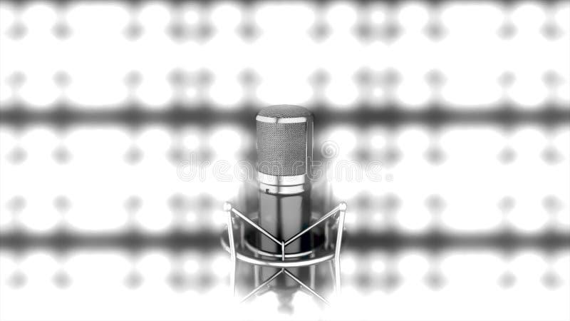 Mikrofon på etapp med ljusa suddiga strålkastare på bakgrund, monokrom Abstrakt begreppsilver mic som framme står av vektor illustrationer