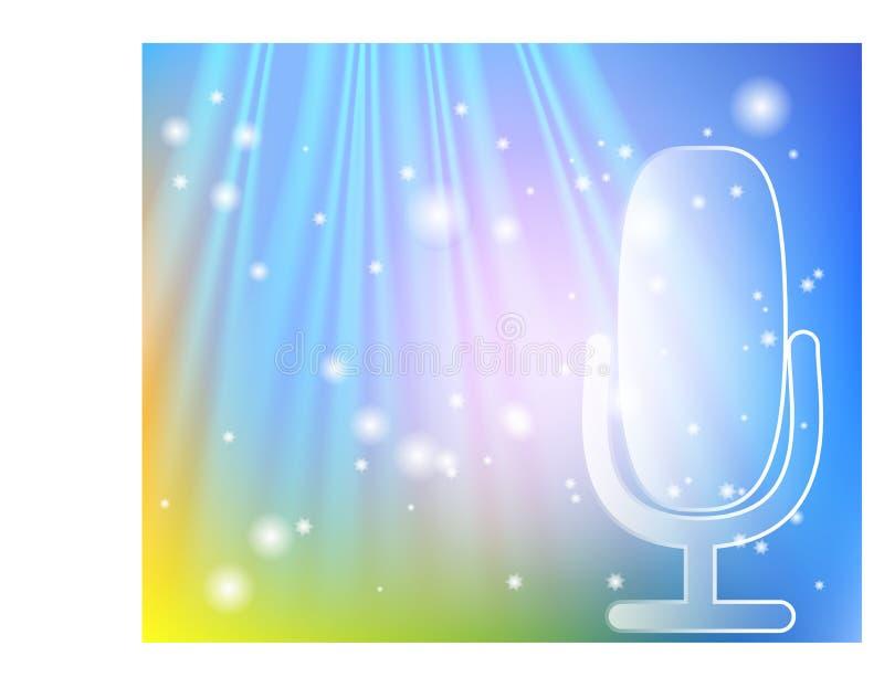 Mikrofon p? etapp Professionelln st?r upp begrepp f?r mic f?r teatergardinTV-s?ndning vektor illustrationer