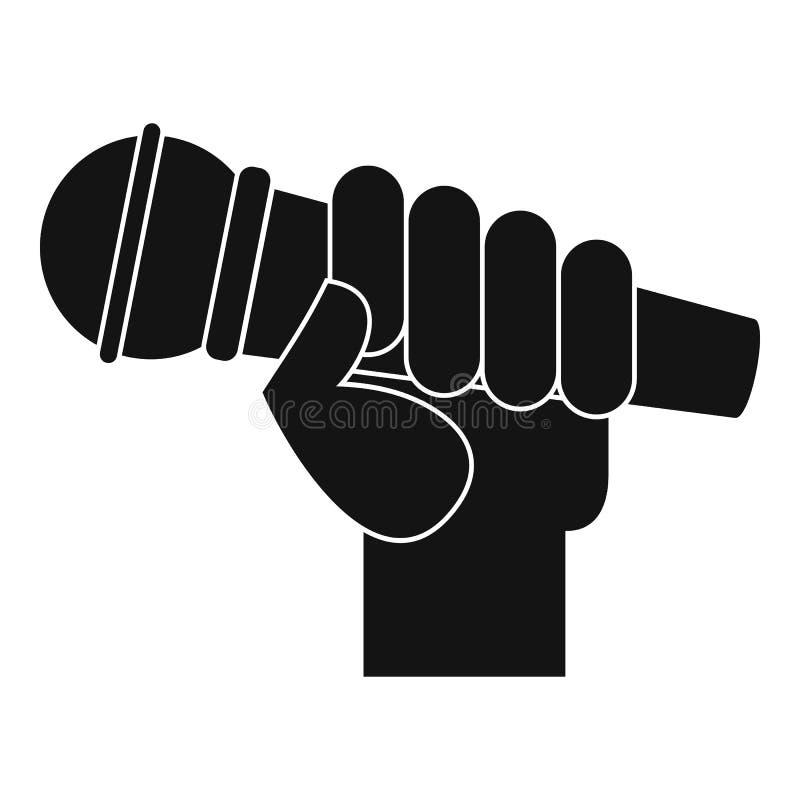 Mikrofon ręki ikona, prosty styl ilustracja wektor